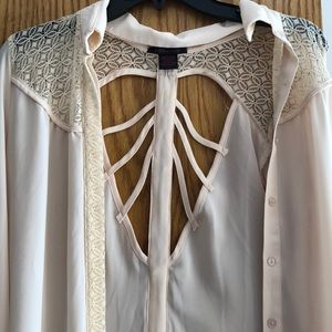Tops - Cream button-up blouse